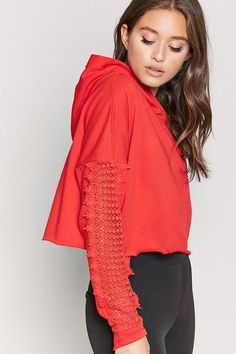 FOREVER 21 Crochet Lace Sleeve Hoodie #female #woman #girls #fashion #style #trend #clothes Klick to see the Price