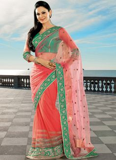 EXOTIC SELLERS!!  Remarkable Red Net Designer Lengha Choli  Product Order linkhttp://www.usarees.com/sarees/gambling-green-and-pink-patch-border-work-net-designer-saree-3550  ITEM CODE: 3550  Color :Green Pink Fabric :Faux Georgette Work :Embroidered Patch Border Occasion :Festival Reception  Call or Whatsapp : +919377152141 SHOP NOW!!