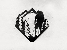is the Hiker Sketch vetorized. Hoping the client likes this version. Any feedback welcome!Here is the Hiker Sketch vetorized. Hoping the client likes this version. Any feedback welcome! Badge Design, Logo Design, Graphic Design, Hiking Tattoo, Nature Drawing, Mountain Tattoo, Stencil Art, Logo Inspiration, Sketches