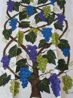Pair Vintage 1960s Lois Long New Old Stock Linen Kitchen Towels Grapes on Vine   eBay