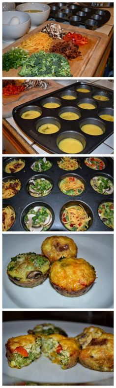 Delicious Breakfast Egg Muffins- minus the cheese Banting Recipes, Low Carb Recipes, Cooking Recipes, Healthy Recipes, Brunch Recipes, Breakfast Recipes, Great Recipes, Favorite Recipes, Good Food
