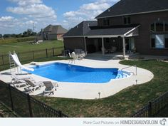 15 Lazy L Swimming Pool Designs - Home Design Lover - Pool ideas - Women's Need Small Backyard Pools, Backyard Pool Designs, Swimming Pools Backyard, Swimming Pool Designs, Pool Landscaping, Luxury Swimming Pools, Natural Swimming Pools, Luxury Pools, Dream Pools
