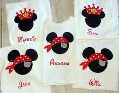 5 Custom Appliqued Mickey mouse as pirate and Minnie Mouse as a Princess Tshirt set. .. Perfect for Pirate night on Disney Cruise Line ...