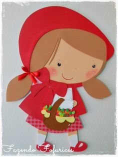 Fazendo Fofurices : Painel Chapeuzinho Vermelho Foam Crafts, Easy Diy Crafts, Crafts For Kids, Paper Crafts, Red Riding Hood Party, Little Red Ridding Hood, Egg Carton Crafts, Cute Bags, Art Plastique