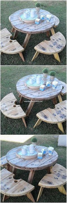 Pallet Round Top Table and Benches Pallet Crafts, Diy Pallet Projects, Pallet Ideas, Wood Pallet Wine Rack, Pallet Coat Racks, Pallet Counter, Pallet Side Table, Pallet Mirror Frame, Palette