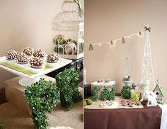 garden theme Bridal Shower - Dessert Table Close Up