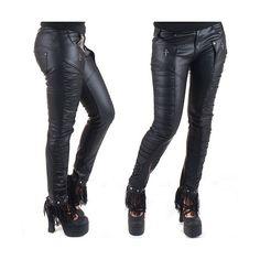 Elastic Leather Like Gothic Pants