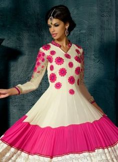 Awesome Off White And Pink Faux Georgette Anarkali Suit