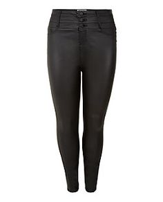 Plus Size Black Coated High Waisted Skinny Jeans | New Look