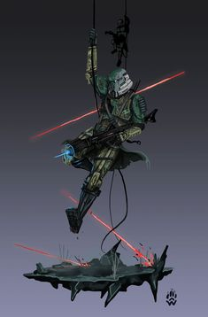 Elite Corps Paratrooper - Star wars by Wolfdog-ArtCorner on DeviantArt Nave Star Wars, Star Wars Droids, Star Wars Gifts, Star Wars Clone Wars, Star Trek, Star Wars Pictures, Star Wars Images, Star Wars Models, Star Wars Concept Art
