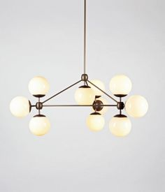 Modo Chandelier, 3-Sided, 10 Globes - Cream by Jason Miller | Roll & Hill