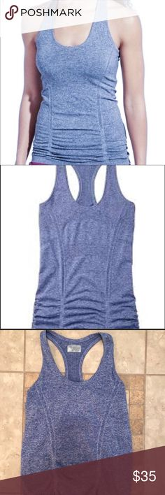 Athleta Fastest Track Tank Cosmic Blue, sz S! Athleta Fastest Track Tank Cosmic Blue, sz S!  Lightly worn and in great condition! Great multi-purpose fitness tank with ruched material to keep it in place. Relaxed design through waist fits contours of your body and stays in place during activity. Women's Small Bust: 30 in. Length: 26 in. Athleta Tops Tank Tops