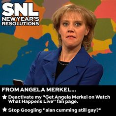 Happy New Year! We just caught up with some familiar faces at our NYE party. Get ready for some 2014 #SNLResolutions! First up: Angela Merkel...