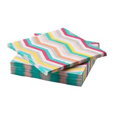 IKEA SOMMAR 2018 Paper napkin Zigzag pattern 24x24 cm The napkin is highly absorbent because it's made of three-ply paper.