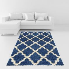 Soft Shag Area Rug 5x7 Moroccan Trellis Blue Ivory Shaggy Rug - Contemporary Area Rugs for Living Room Bedroom Kitchen Decorative Modern Shaggy Rugs