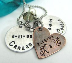 Personalized Mother's Necklace  Hand by FiredUpLadiesHammer, $26.00
