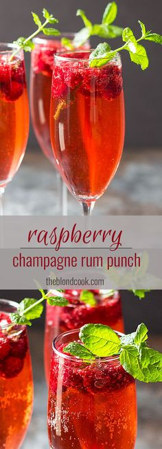 Raspberry Champagne Rum Punch -- An easy and delicious cocktail perfect for New Year's!