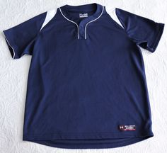 Men's UNDER ARMOUR Heat Gear Baseball Loose Fit Shirt Navy Blue White L Large #UnderArmour #ShirtsTops