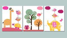 Birds Owls Elephant Giraffe Nursery Baby Girl by nataeradownload