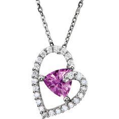 14k White Gold, Diamond and Pink Sapphire Heart Pendant