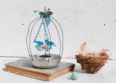 Little BIRDCAGE Delicate Wire Sculpture BIRD Art Turquoise Birds Orange Flower
