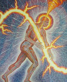 """""""Lightworker"""" by Alex Grey oil on linen, 114 x 90 in. Alex Grey Paintings, Art Paintings, Alex Gray Art, Tantra, Karma, Sacred Geometry Art, Geometry Tattoo, Divine Light, Process Art"""