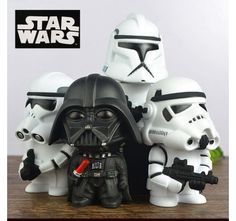 "4pcs Set Star Wars Darth Vader & Stormtrooper 10cm / 4"" PVC Figure Toy New In Box"