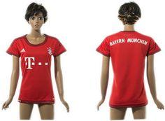 Womens 2015-2016 Bayern Munich Home Red Soccer Jersey