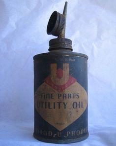 $22.95 VTG Diamond U 1/2 pint Utility Oil Can - Automotive South Gate CA Mid Century #DiamondUProducts