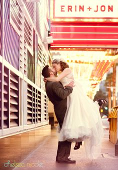 Custom marquee and lots of neon for this downtown Vegas bridal shoot | Chelsea Nicole Photography