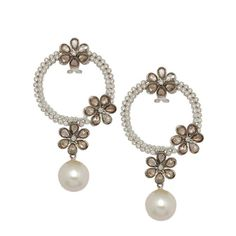 RoseCut Brilliance      This pair of earrings by Anmol is crafted in 18 K gold and set with south sea pearls, rosecuts and round brilliant diamonds.