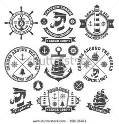 Set of vintage nautical labels and icons 2 - stock vector