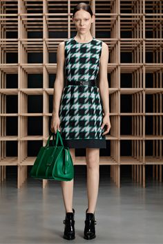 Boss | Pre-Fall 2015 | 02 Black/grey/green houndstooth belted sleeveless mini dress
