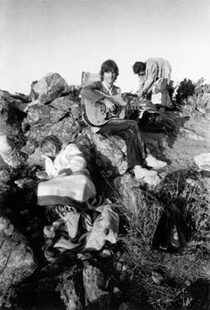 "When Mick, Marianne, Keith and Anita went to Los Angeles together in the summer of whilst the Stones were recording ""Beggar's Banquet"", . Gram Parsons, Rolling Stones Logo, Anita Pallenberg, Capricorn Moon, Marianne Faithfull, Desert Dream, Her World, Keith Richards, Photo Art"