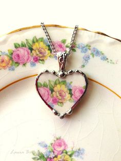 Broken China Jewelry heart pendant necklace vintage pink and yellow roses