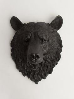 The Nordi - Black Resin Bear Head- Resin Black Faux Taxidermy- Chic & Trendy. $109.99, via Etsy.