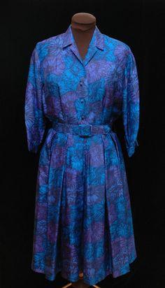 VTG 50s 60's Norman Wiatt Swing Dress Fit Flare Size Medium Floral Jewel Tones #NormanWiatt