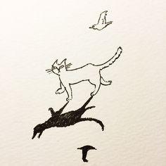 no.85 ペン pen #イラスト#スケッチ#絵本#猫#鳥#illustration#sketch#book#artwork#cat#bird