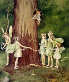 Ida Rentoul Outhwaite 1888-1960 - Fairies by a Tree