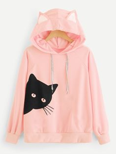 Shop Plus Cat Print Hooded Sweatshirt online. SHEIN offers Plus Cat Print Hooded Sweatshirt & more to fit your fashionable needs. Hoodie Sweatshirts, Sweatshirts Online, Hoodies, Sweat Shirt, Mode Kawaii, Looks Chic, Kawaii Clothes, Cute Sweaters, Uganda
