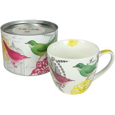 Bright Birds and Flowers Big Mug in Tin