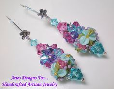Aqua and Pink Floral Lampwork Earrings Long by ariesdesignstoo