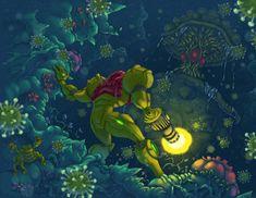 Samus Encounters Spore Spawn by ZEBES on deviantART