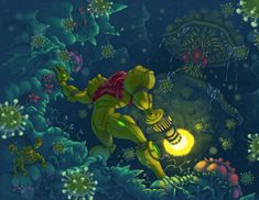 Samus Encounters Spore Spawn by ZEBES on deviantART