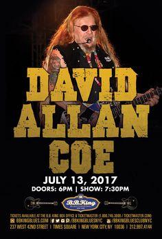 David Allan Coe - Outlaw Country Legend (7.13.17) / Tix @ http://www.ticketmaster.com/event/00005224034843A8?brand=bbkingblues&camefrom=cfc_bbking_170713pinterest
