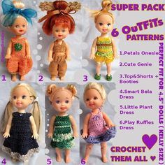 """Kelly 4.5""""doll clothes: SUPER PACK   #doll #crochet #patterns"""