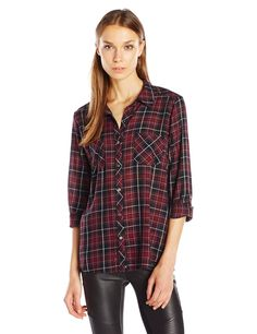 Joie Women's Sequoia Plaid Cotton Shirt, Caviar, S. Button down. Plaid.