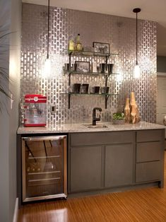 Basement Bar Ideas and Designs: Pictures, Options & Tips | Home Remodeling - Ideas for Basements, Home Theaters & More | HGTV #homeremodelingpictures #hometheatertips