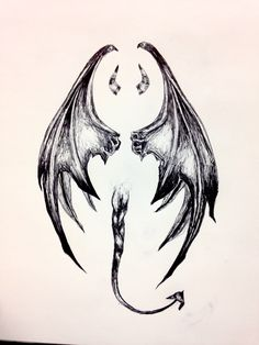 Lucifer's tail, wings, and horns. A pen sketch.