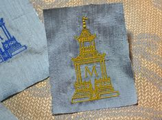 pagoda embroidery monogram napkins pillows bedding towels new exclusive design homage to Dorothy Draper